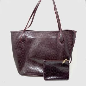 MZ Wallace burgundy perforated leather tote
